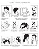 Astuces et teinture capillaire de précautions avant emploi pour colorer propres cheveux à la maison, monochrome illustration stock