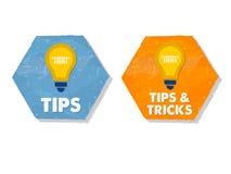 Astuces et tours avec des symboles d'ampoule dans des hexagones plats grunges de conception illustration stock