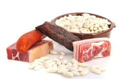 Asturian豆炖煮的食物。 免版税库存图片