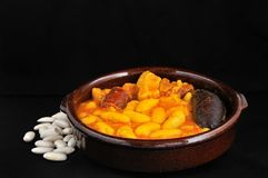 Asturian bean stew. Stock Photos