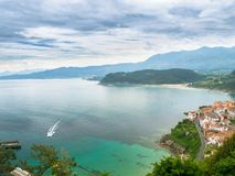 Asturian coast with the village Lastres in the foreground stock image