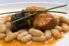 Asturian ham and beans.Spanish cuisine. Stock Photography