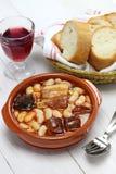 Asturiana di Fabada, stufato spagnolo del fagiolo bianco Fotografie Stock