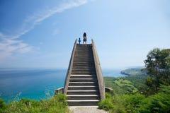 asturias kustlinje över Viewpoint Royaltyfri Fotografi