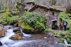 Asturias route. Old water mill in Asturias, Spain stock images