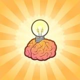 Astuto pensi l'illustrazione di idea del cervello con potenza Immagine Stock Libera da Diritti