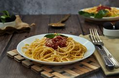 asty colorful appetizing cooked spaghetti italian pasta with tomato sauce bolognese stock image