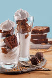 Asty vanilla frozen yogurt with Brownie and whipped cream Stock Images