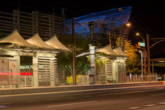 ASU net sculpture and bus stop at night in Phoenix, AZ Royalty Free Stock Images