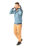 Сasual boy in jacket posing and looking at the camera Stock Photos