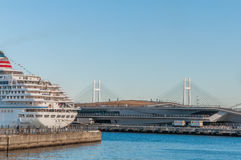 Asuka II am Osanbashi-Pier, Yokohama Lizenzfreie Stockbilder