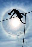 Asunción de riesgos y desafío o concepto superado de las dificultades de la vida Foto de archivo