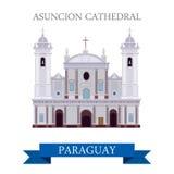 Asuncion Cathedral en points de repère plats d'attraction de vecteur du Paraguay illustration stock