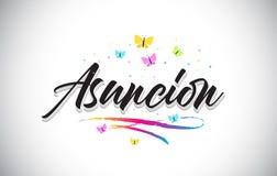 Asuncion Handwritten Vetora Word Text com borboletas e Swoosh colorido ilustração stock