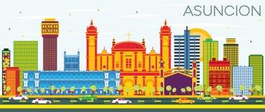 Asuncion Paraguay City Skyline avec les bâtiments de couleur et le ciel bleu illustration libre de droits