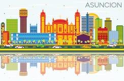 Asuncion Paraguay City Skyline con los edificios del color, cielo azul ilustración del vector