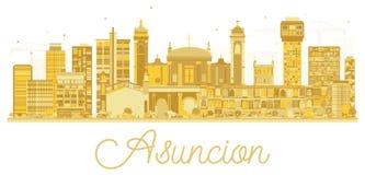 Asuncion Paraguay City Skyline Silhouette avec les bâtiments d'or illustration stock