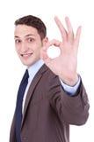 Asunto del hombre de negocios con gesto ACEPTABLE Foto de archivo libre de regalías