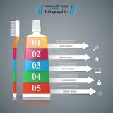 Asunto Infographics Crema dental, icono del cepillo Foto de archivo libre de regalías