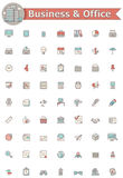 Asunto y conjunto del icono de la oficina ilustración del vector