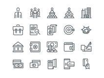 Asunto y finanzas Sistema de iconos del vector del esquema Incluye por ejemplo trabajo en equipo, el banco, el pago y otro Movimi Fotografía de archivo libre de regalías