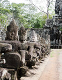 Asura of East gate bayom. The asura infront of the east gate of bayon Royalty Free Stock Photo