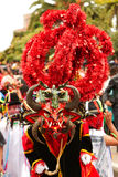Asustadizo como traje del rojo del infierno Imagen de archivo libre de regalías