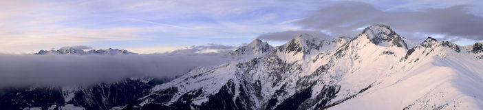Asutrian Alps panorama. A ultra wide panorama of the high, beautiful Austrian Alps Stock Image