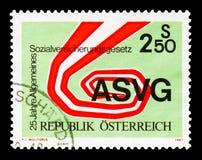 ASVG - simbolismo, serie do seguro social, cerca de 1981 imagens de stock royalty free
