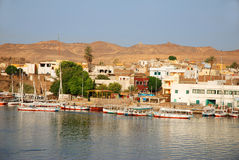 Aswan. Banks of Nile river in Aswan, Egypt Royalty Free Stock Photography