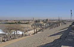 Aswan Dam with hydropower in Egypt Royalty Free Stock Photos