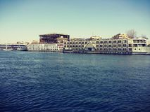 Aswan e Nile River e palmas imagens de stock