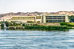 ASWAN EGYPT 20.05.18 nile river luxury Hotel moevenpick on a sunny day stock photography
