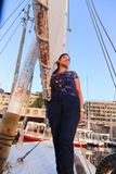 Egyptian woman on Sailboat in the Nile river Stock Photo