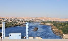 Aswan fördämning, Egypten Arkivbilder