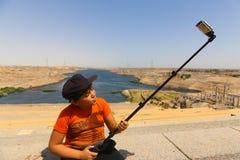 Aswan fördämning i den höga fördämningen - Egypten arkivfoton