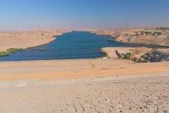 aswan fördämningegypt nile flod Royaltyfria Foton