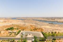 Aswan från överkanten - Egypten arkivfoton