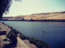 Aswan i Nile rzeka obraz royalty free