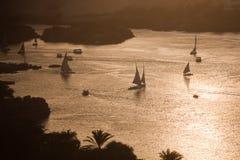 Aswan, na Nil felucca łodzie Zdjęcia Royalty Free