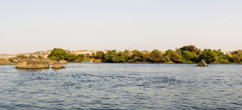 Aswan Nile Panorama stock foto's