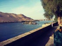 Aswan och Nile River arkivfoto