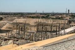 Aswan tama - Aswan hydroelektryczna elektrownia i Nasser jezioro, Egipt obraz stock