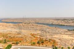 Aswan tama w wysokości tamie - Egipt obrazy stock