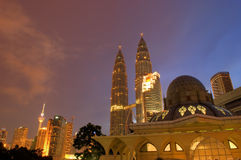 Asy-Syakirin Mosque and KLCC Stock Photo