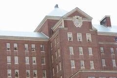 Asylum. Closed and abandon mental hospital, bars on windows Royalty Free Stock Image