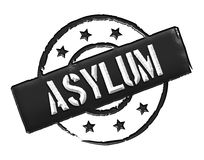 Asylum - Black. Sign and stamp named ASYLUM for your presentation royalty free illustration