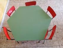 Asylum canteen desks. Empty colorful stock photo