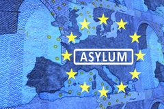 Asylum in Europe. On the map of Europe is the lettering ASYLUM. Surrounded by the European circle of stars vector illustration