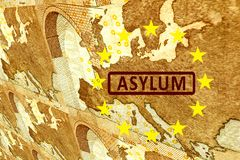 Asylum in Europe. On the map of Europe is the lettering ASYLUM. Surrounded by the European circle of stars. The graphics run out of the image plane vector illustration